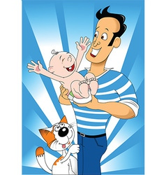 Cartoon dad with child vector