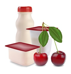 Yogurt and cherry vector