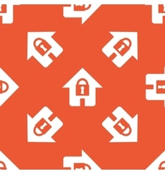Orange locked house pattern vector
