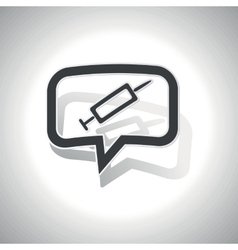 Curved syringe message icon vector