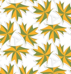 White 3d with colors green and yellow maple leaves vector