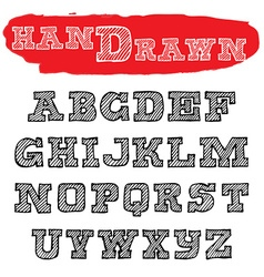 Handwriting striped fonts hand drawn alphabets vector