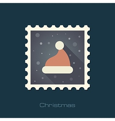 Christmas Hat flat stamp vector image