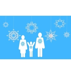 Winter family web icons vector