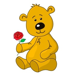 Teddy-bear with a rose flower vector