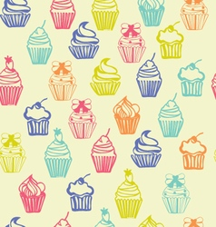 Outlined colorful seamless pattern with cupcakes vector
