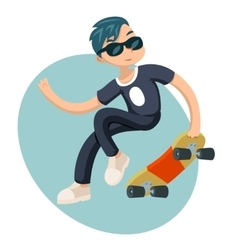Cartoon Hipster Geek Scater Jump Skateboard Summer vector image