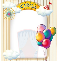 A circus entrance with balloons vector