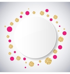 Background with pink and gold glittering circles vector