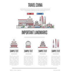 China travel infographics in linear style vector