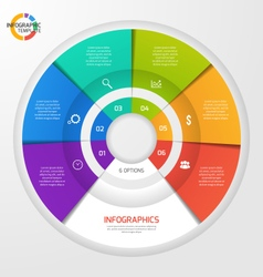 Circle infographic template 6 options vector