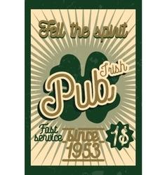 Color vintage irish pub banner vector image vector image