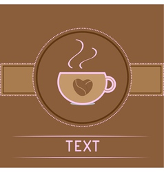 Cup and coffee beans heart card pink text vector