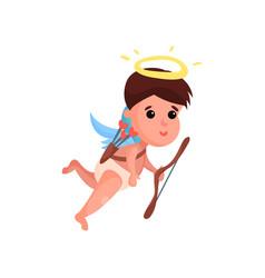 cute little angel boy shooting a bow cartoon vector image