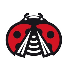 Cute little red spotted cartoon ladybug icon vector image vector image