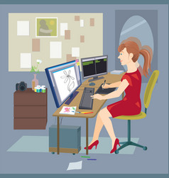 freelance woman working at home with computer vector image