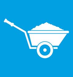 garden wheelbarrow icon white vector image