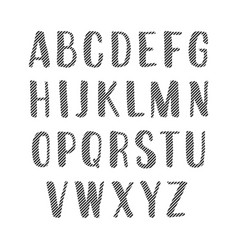 handwritten alphabet uppercase striped letters vector image