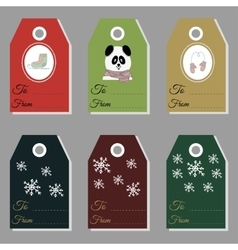 Holiday gift new year and christmas gift tags vector