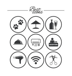 hotel apartment services icons wifi sign vector image vector image