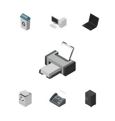 Isometric cabinet set of strongbox computer vector