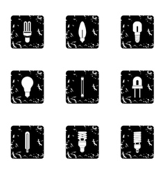 Lamp icons set grunge style vector image