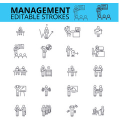 Management ouline icons editable strokes vector