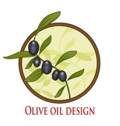 Olive oil branch in cicle vector image vector image