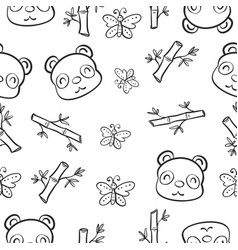 Pattern panda and bamboo hand draw vector