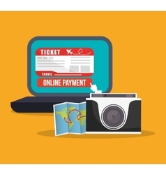 Payment online travel photo camera and map world vector