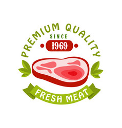Premium quality since 1969 fresh meat logo vector