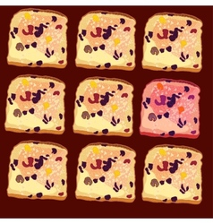 Seamless pattern slices of bread vector