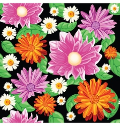 seamless pattern with bouqet of flowers vector image vector image