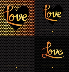 Set of 4 Posters Romantic greeting card with vector image vector image