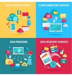 Set of concept flat designs for data services vector