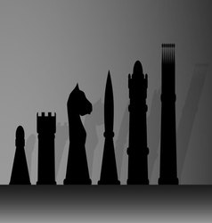 Silhouette of chessmen vector image vector image