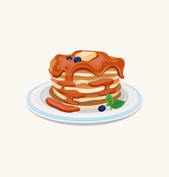 Stack of tasty pancakes topped with honey or vector