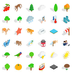 Topography icons set isometric style vector