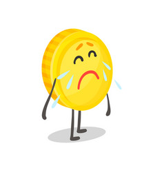 unhappy weeping golden coin humanized character vector image
