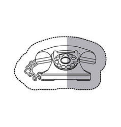 White sticker color telephone icon vector