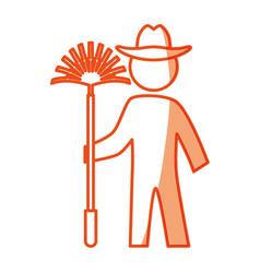 worker gardener pictogram vector image