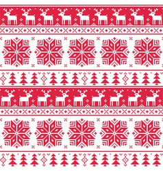 Xmas nordic seamless red pattern with deer vector image