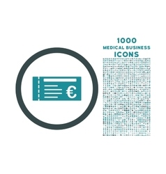 Euro ticket rounded icon with 1000 bonus icons vector