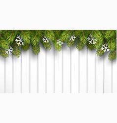 Christmas wooden background with fir branches vector