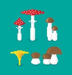 Pixel mushroom set vector
