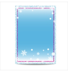 Winter vertical banner template with pink frame vector image