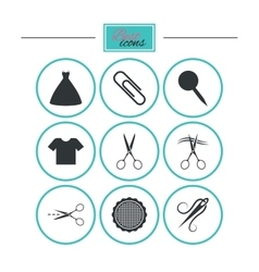 Tailor sewing and embroidery icons scissors vector