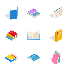 Literature icons isometric 3d style vector