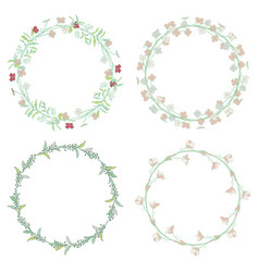 Wreaths branches laurels with herbs plants and vector