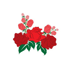Red rose in the style of flat vector